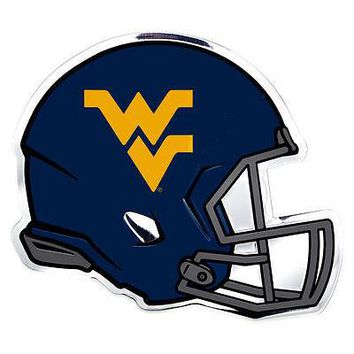 West Virginia Mountaineers Die-Cut Metal Helmet Auto Emblem - Decal , Sticker