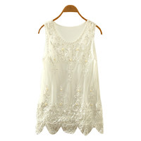 Summer Lace Pearl Crop Tops Grenadine Crochet T Shirt = 4765281924