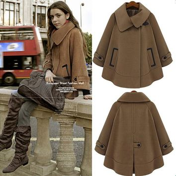 Women Cloak Blend Trench Coat 2016 Winter  Plus Size S-XXXL Fashion  Style Warm Cashmere Coat