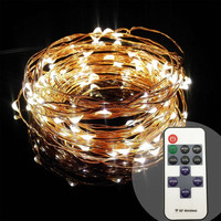 10m 100 33ft RF remote control dimmable LED copper wire string lamp starry night lighting for holiday wedding party Christmas
