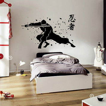 kik639 Wall Decal Sticker Japanese ninja mercenary killer living room sleeping teenager