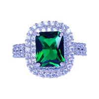Square Green Emerald / Crystal Engagement Ring