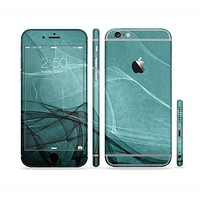 The Abstract Teal and Black Curves Sectioned Skin Series for the Apple iPhone6s Plus