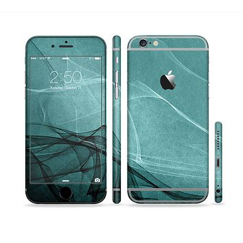 The Abstract Teal and Black Curves Sectioned Skin Series for the Apple iPhone 6s Plus