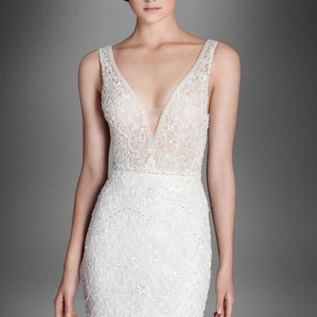 Lazaro Crystal Beaded Column Dress (In Stores Only) | Nordstrom