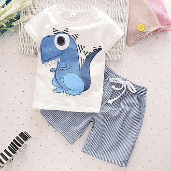 New Summer Children Boys Clothes Cotton Comfortable Cartoon Kids Short T-shirt Pants Boys Clothing Set