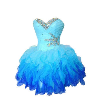 Ball Gown Sweetheart Sleeveless Short Evening Party Prom Dress 8th Grade vestido de festa curto Short Homecoming Dresses 2016