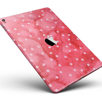 "The Pink WAtercolor Grunge with Polka Dots Full Body Skin for the iPad Pro (12.9"" or 9.7"" available)"