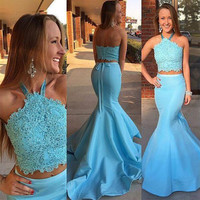 Fashion Beaded Lace Two Piece Prom Dress Mermaid Satin Sky Blue Prom Dresses Halter Best Party Gowns For Prom Elegant Dress RT16