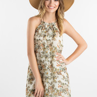 Florentine Floral Print Halter Dress by Everly