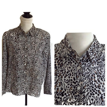 Vintage Ladies Blouse-Karen Scott-Animal Print-Black White Tan-Button Front-Long Sleeves-Silky Shirt-Leopard Print-Summer Blouse