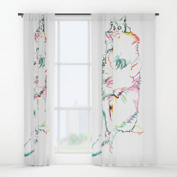 Fluffy Kitty Window Curtains by Rachel Hoffman