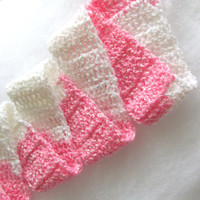 Pink and White Striped Childs Scarf - Perfect for spring , easter