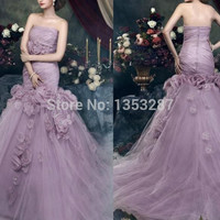 Long Elegant Prom Dresses Purple 2015 Vintage Strapless Ball Gown Flowers Tulle Party Gown China Online Shop