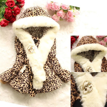 Girls Kids Toddler Fur Leopard Print Winter Hoodie Coat Jacket Snowsuit Outwear = 1931775428