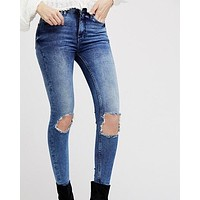 free people - busted high rise distressed skinny jeans - blue/turquoise