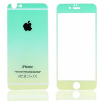 Mint Green Gradient Toughened Glass Screen Protector for iPhone 6s 6plus Gift