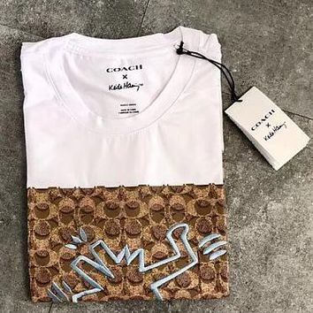 COACH X KEITH HARING T-shirt Artist Keith Haring White+Apricot