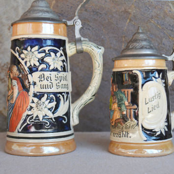 Vintage German Beer Steins, Set of Pewter Top Stein Mugs, Figurine Barware Mugs, Tan and Cobalt Blue Beer Tankards, Gift Idea