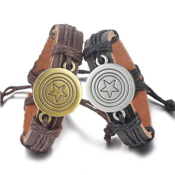 SPINNER Punk Captain America Genuine Leather Bracelet Handmade Charm Rope Survival Bracelet& Bangle Women Men Jewelry