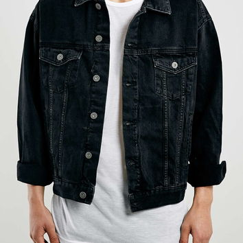 Black Oversized Denim Western Jacket