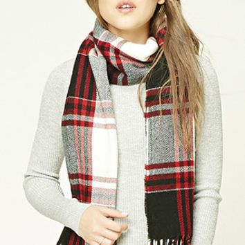 Flannel Plaid Oblong Scarf