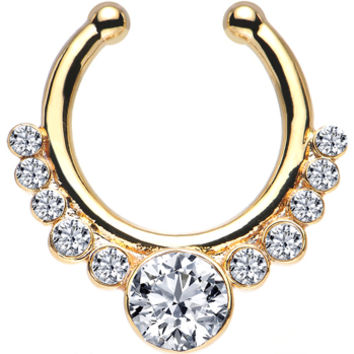 Clear Gem Gold IP Pure Glamour Non-Pierced Clip On Septum Ring | Body Candy Body Jewelry