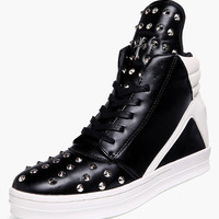Black Beaded Lace Up High Cut Shoes
