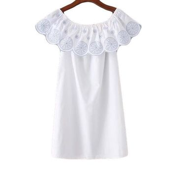 Cute Solid Sheath Mini Dress Petal Sleeve Embroidery Square Collar Women Dress