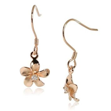 10MM Prong Setting CZ Sterling Silver Plumeria Hook Earring Pink Gold Plated