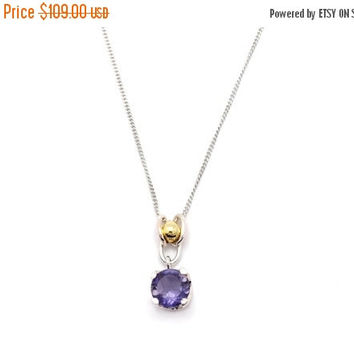 CHRISTMAS SALE Christmas Sale Iolite Pendant necklace made of sterling silver and 14k gold - Christmas gift idea - Free shipping