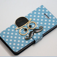 mustache blue iphone 5c wallet case,iphone 5c cases,iphone 5c flip case