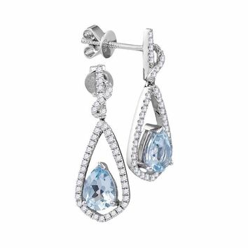 14kt White Gold Women's Pear Natural Aquamarine Diamond Dangle Earrings 1-3 Cttw - FREE Shipping (US/CAN)