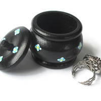 Small Decorative Box with lid, wooden trinket box, hand painted in black with tiny blue flowers, ring box, keepsake box