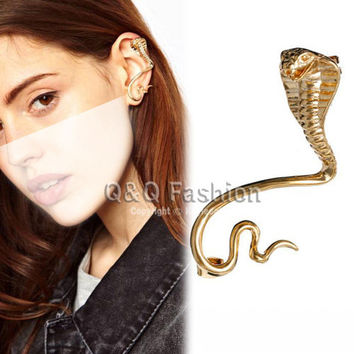 Egypt Cleopatra Gold 3D Snake Cobra Ear Cuff Stud Earring Free Shipping