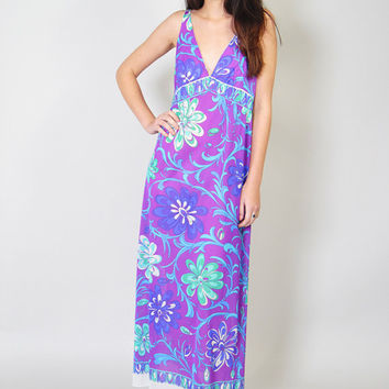Vintage Emilio Pucci Formfit Rogers Robe and Night Gown Set 70s Psychedelic Slip Dress Maxi Gown Nylon Caftan S EPFR