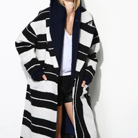 One of a Kind Striped Wool Coat OU0301