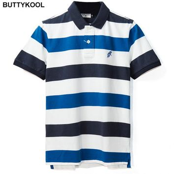 BUTTYKOOL 2017 Fashion Men POLO Shirt Mens Striped polos Shirts Casual Man polo Comfortable Cotton Short-sleeve Plus Size 2XL