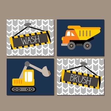CONSTRUCTION Bathroom Wall Art, Canvas or Prints, Shared Boy Brother Decor, Dump TRUCK Theme, Wash Brush Pictures, Transportation, Set of 4