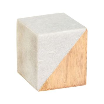 Small Marble And Wood Split Cube White Marble,Natural Wood