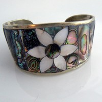 Mexican Silver Abalone Cuff Bracelet