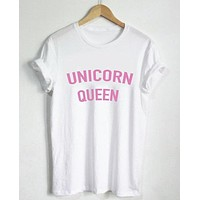 Women T shirt Unicorn Queen Pink Letters Print Cotton Casual Funny Shirt For Lady White Black Gray Top Tee Hipster T-72