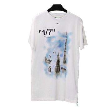 DCCK2 728 OFF WHITE C-O VIRGIL ABLOH OW Men's and women's short-sleeved t-shirts restricted to dubai tower
