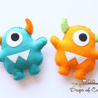 One Monster Plush Felt Toy - Nursery Decoration - Party Favors - Little Baby Monster (You can pick your colors)