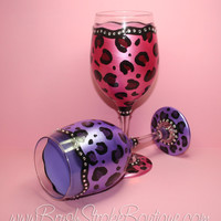 Hand Painted Wine Glass - Leopard Bling Set - Original Designs by Cathy Kraemer
