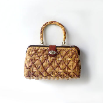 Vintage 1970s  woven natural cane straw wicker handbag