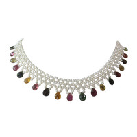 Elegant Pearl and Tourmaline Lace Fringe Necklace