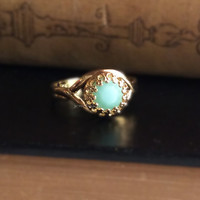 Light Blue Crystal Ring Mint Ring Small Stacking Ring Turquoise Birthstone Brown Black Bronze Gold Silver Earthy Rustic Summer Spring