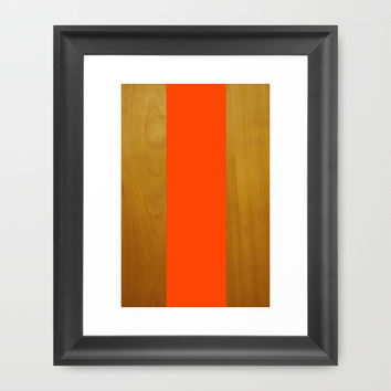 Stripe and Wood Framed Art Print by All Is One