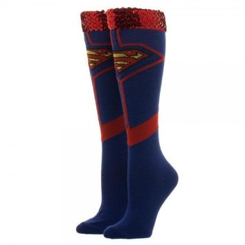 Superman Sequin Knee High Socks